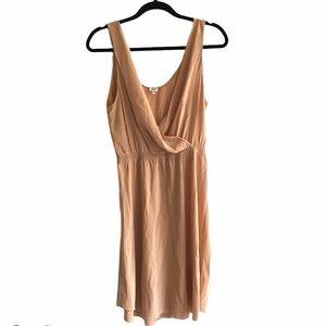 ARITZIA Silk Faux Wrap Sleeveless Midi Dress Camel